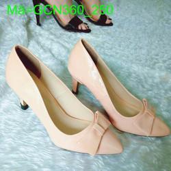 Giày cao gót nữ mũi nhọn bếch nơ da bóng xinh xắn cá tính GCN360