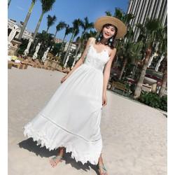 Đầm maxi phối ren trắng tinh khôi