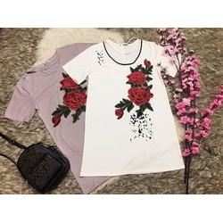 Đầm suông kết hoa thêu đang dây ngực _hàng thiết kế