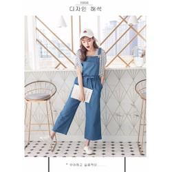 Quần yếm jean phổ biến Hàn Quốc