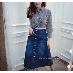 Chân váy jean nút dài