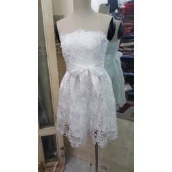 Đầm xòe ren cao cấp thiết kế cúp ngực 4  màu trắng, đen, hồng, đỏ