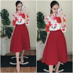 Set áo hoa bèo + chân váy xòe đỏ xinh yêu - NSET20