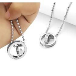 Mặt dây chuyền inox 2 chiếc nhẫn lồng trắng -MD054
