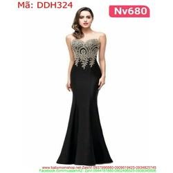 Đầm dạ hội sát nách xòe nhẹ dưới thêu hoa xinh đẹp DDH324