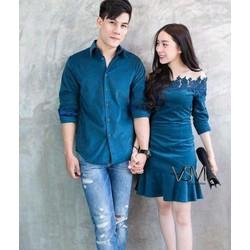 Áo cặp váy sơ mi xanh dương nam nữ