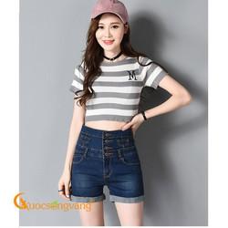 Quần short nữ quần short jean lưng cao màu xanh đen GLQ064