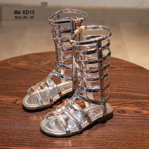Sandal Chiến Binh Màu Bạc Cho Bé Gái XD15