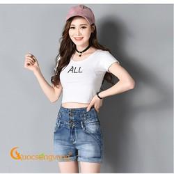 Quần short nữ lưng cao quần short jean cạp cao màu xanh nhạt GLQ065
