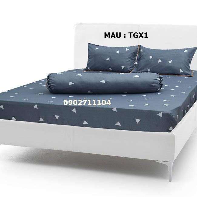 bộ ga cotton caro xanh -  crx01 9
