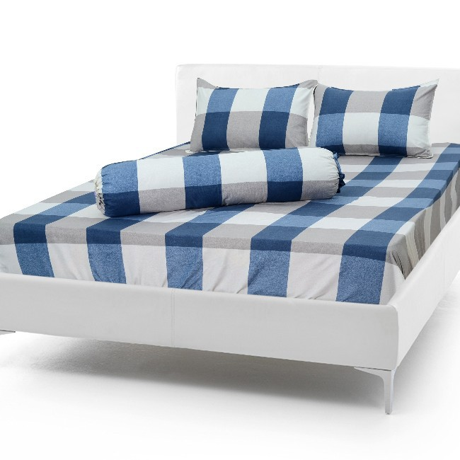 bộ ga cotton caro xanh -  crx01 4