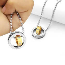 Mặt dây chuyền inox 2 chiếc nhẫn lồng trắng vàng -MD053