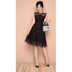 Đầm xòe ren thiết kế công chúa cao cấp 2 màu đen, trắng