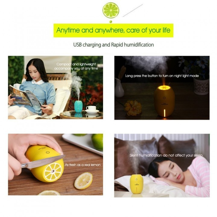Máy Phun sương Tinh dầu Quả chanh kiêm đèn ngủ Lemon Humidifier 7