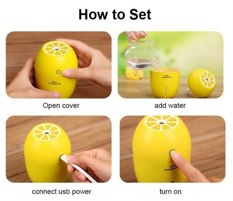 Máy Phun sương Tinh dầu Quả chanh kiêm đèn ngủ Lemon Humidifier 8
