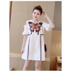 Váy suông nữ cách điệu khoét vai hàng Quảng châu cao cấp