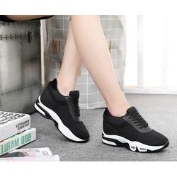 Giày thê thao nữ độn 9p vải cotton thoáng mát siêu mềm nhẹ  màu den