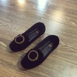 giày mọi khóa tròn chất da nỉ