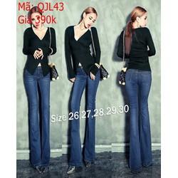 Quần jean nữ quảng châu màu xanh ống loe thời trang QJL43
