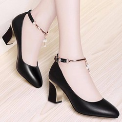[LN1504] Giày gót vuông nữ quai phối lắc thời trang - LINUS