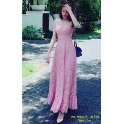 Đầm Maxi Ren Hai Dây Cúp Ngực Trẻ Trung