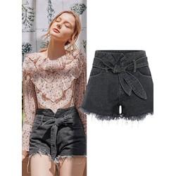 ORDER SHOP MG quần short jean lưng cao cột nơ