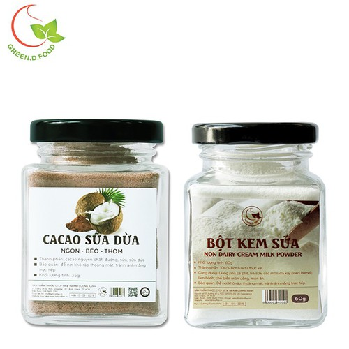 Combo 1 hũ 35g bột cacao sữa dừa và 1 hũ bột sữa nguyên chất 60g