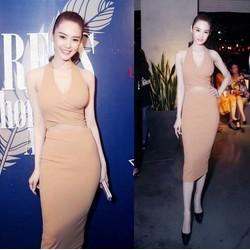 Đầm ôm body kiểu chéo ngực sexy như Linh Chi