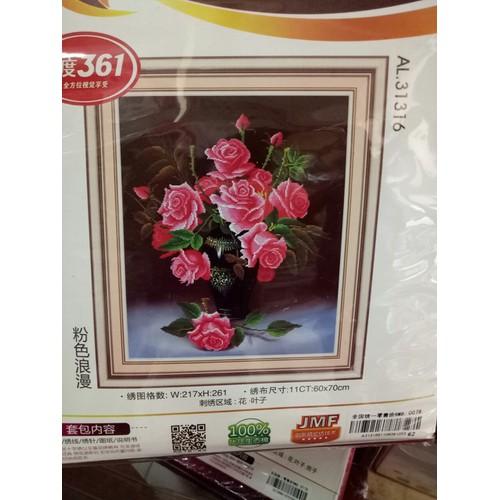 tranh thêu chữ thập hoa hồng 60x70cm - 5366000 , 8955306 , 15_8955306 , 139000 , tranh-theu-chu-thap-hoa-hong-60x70cm-15_8955306 , sendo.vn , tranh thêu chữ thập hoa hồng 60x70cm