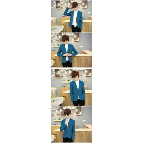 Áo khoác giả vest slim fit màu xanh lam cá tính