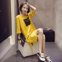 Đầm thun from suông dài tay lỡ có hình màu vàng