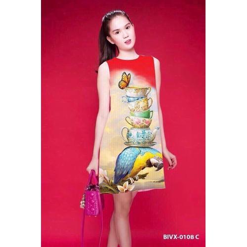 Đầm suông họa tiết 3D dv1301