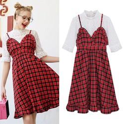 ORDER SHOP MG Set áo ren trắng + váy sọc ca rô đỏ