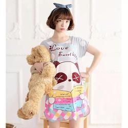 Đầm ngủ thun mặc nhà gấu panda xám