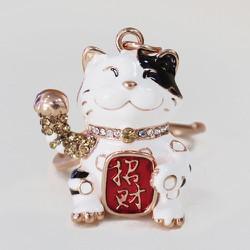 Móc Khóa Xe Ô Tô Mèo Thần Tài May Mắn - Xua Vận Đen - Đón Tài Lộc