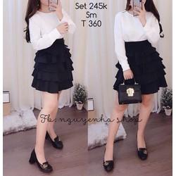 Set áo trắng chân váy xòe đen