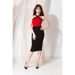 Đầm ôm body thiết kế cổ yếm viền đen