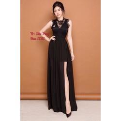 Đầm maxi đen phối ren xẻ tà