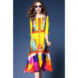 Đầm Suông Họa Tiết Tranh Vẽ - Hàng nhập loại 1