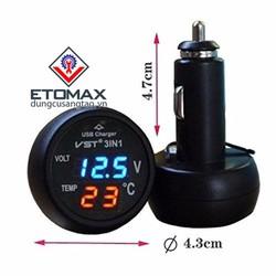 Tẩu sạc điện thoại kiêm đồng hồ đo điện áp, nhiệt độ trên ô tô 3in1