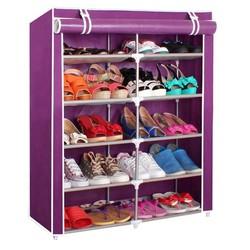 Tủ vải để giày 6 tầng 12 ngăn Tím
