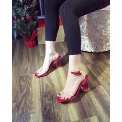 Sandal Màu Đỏ Quai Trong Gót Đá
