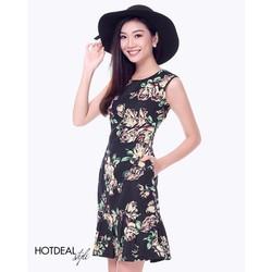 Đầm Hoa Xếp Ly Thanh Lịch - Dạo Phố - Đi biển -mùa hè