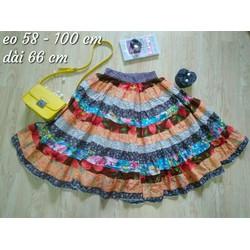 Chân váy xoè phối nhiều màu - si Nhật Hàn tuyển