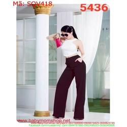 Sét áo kiểu yếm trắng và quần ống loe sành điệu thời trang SQV418