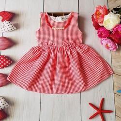 Đầm caro bé gái đính dây chuyền cực xinh - Đỏ