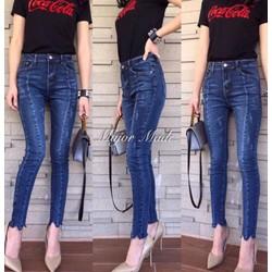 Quần jean xanh dài cao rách