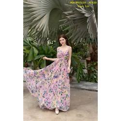 Đầm Maxi Kiểu Nhún Ngực Hoa Tím Quyến Rũ