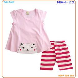 Bộ bé gái thêu mèo form dài pối quần sọc rất đáng yêu