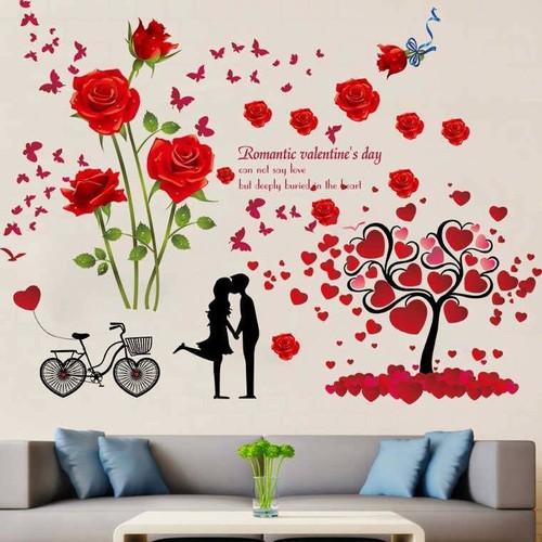 Decal dán tường hoa hồng nhung đỏ và cây trái tim tình yêu - 5376885 , 8977553 , 15_8977553 , 145000 , Decal-dan-tuong-hoa-hong-nhung-do-va-cay-trai-tim-tinh-yeu-15_8977553 , sendo.vn , Decal dán tường hoa hồng nhung đỏ và cây trái tim tình yêu